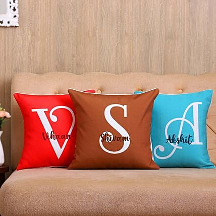 Meaningful Names Personalised Cushion Cover Set Of 3:Personalised Cushions