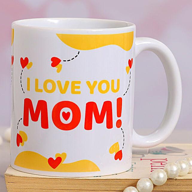 I love U Mom Heart Print Mug