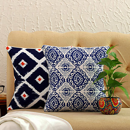 Beautiful Printed Cushion Covers And Money Plant:Buy Plants Combos