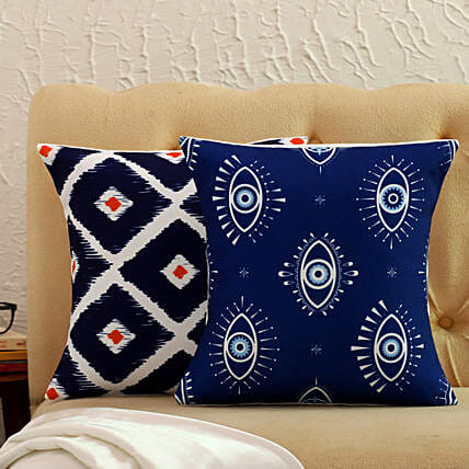 Set Of 2 Printed Cushion Covers