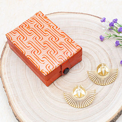 Mothers Day Crescent Earrings And Orange Jewellery Box:Send Jewellery Gifts