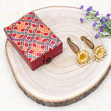 Mothers Day Special Jhumka Earrings And Jewellery Box:Send Jewellery Gifts