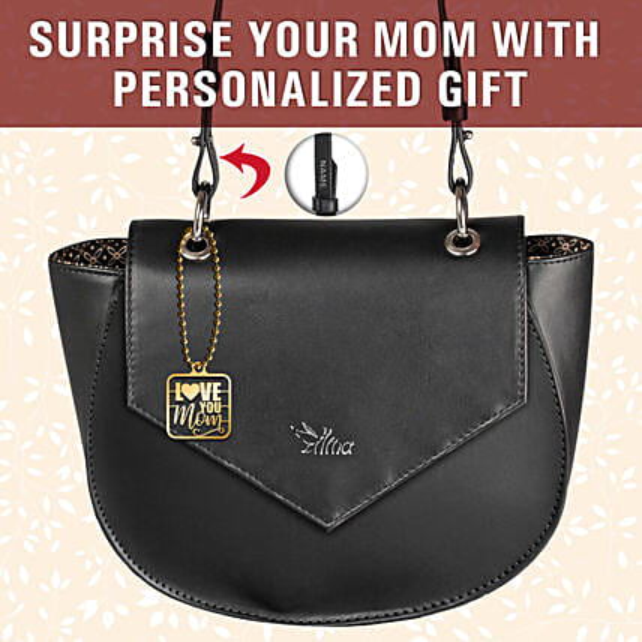 Personalised Love You Mom Charm Black Sling Bag