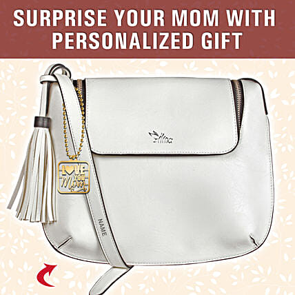Personalised Love You Mom White Sling Bag