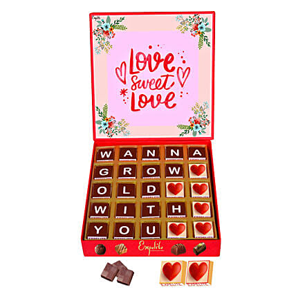 Wanna Grow Old With You Personalised Chocolate Box 25 Pcs:Personalised Chocolates Love