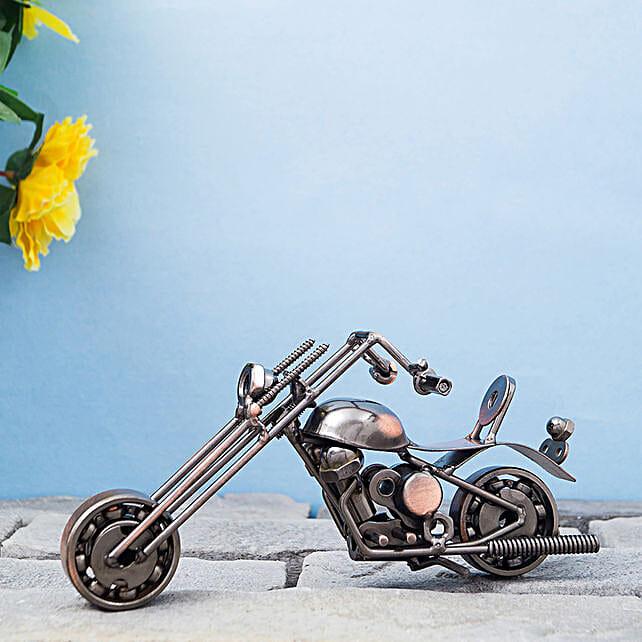 Copper Toned Striking Metal Motor Bike Showpiece:Send Home Decor Gifts