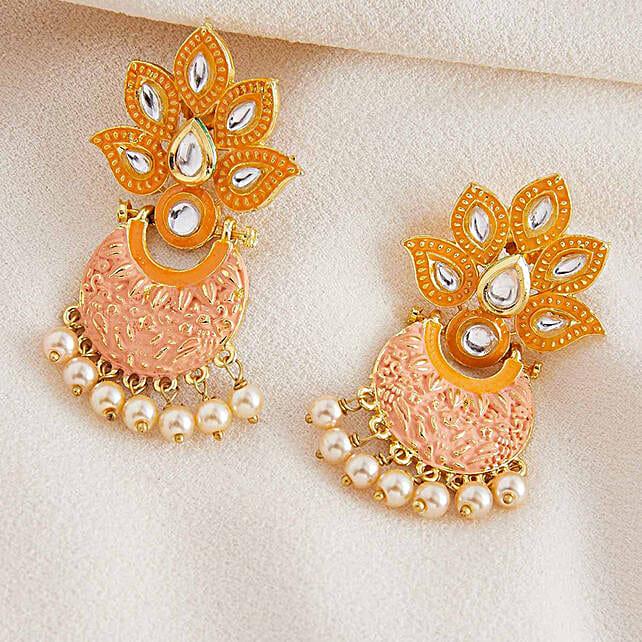 Motif Design Kundan Meenakari Dangle Earrings