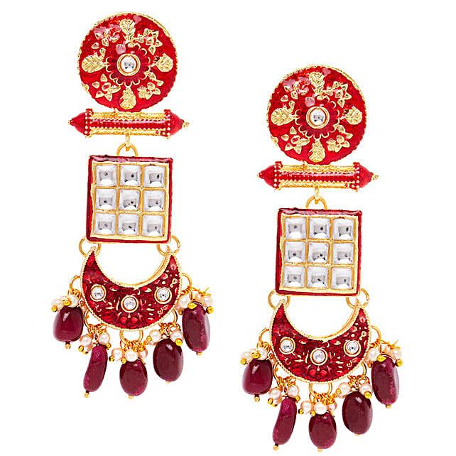 Red Meenakari Dangle Earrings:Accessories for Her