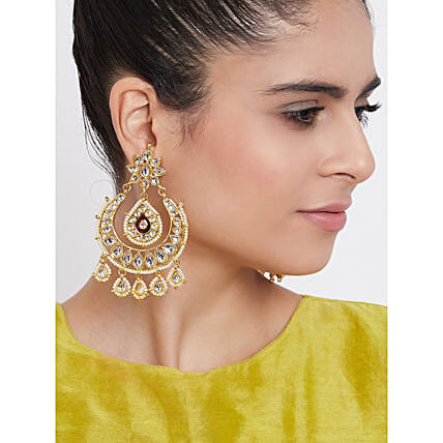 Dainty Kundan Dangle Earrings