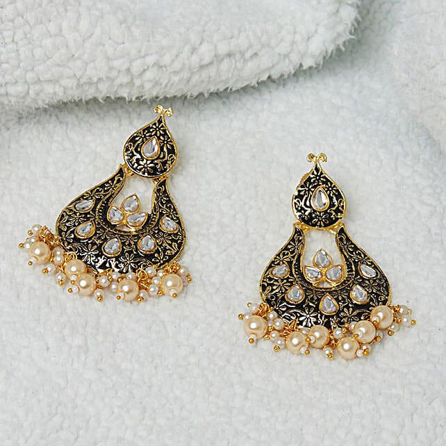 Desirable Kundan Studded Enamel Earrings