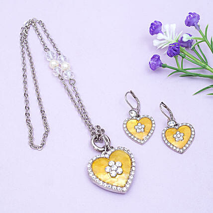 Golden Peacock Slver and Yellow Jewellery Set-Yellow Stone Heart Shaped Silver Color Jewelry Set:Necklaces for Women