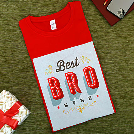 Best Bro Ever Red Cotton T shirt