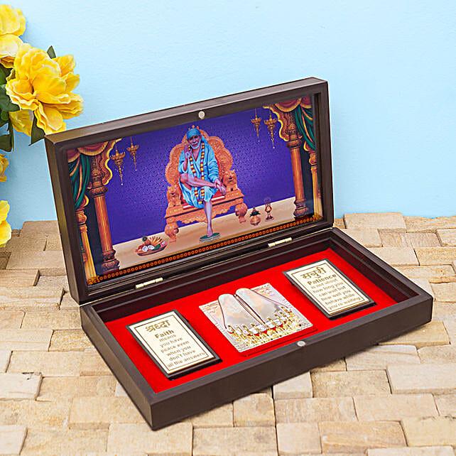 Brown And Blue Gold Foil Sai Baba Pooja Box