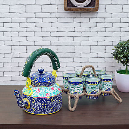 Multicoloured Kettle And 6 Glasses With Stand