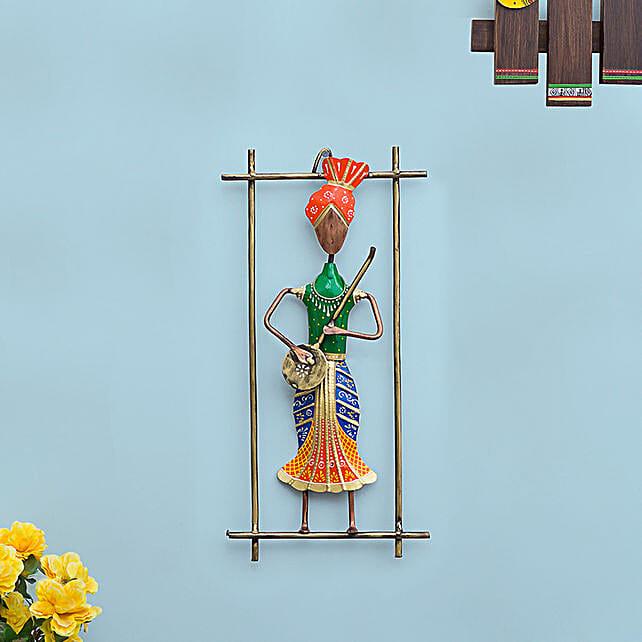 Multicoloured Musician Playing Instrument Figurine