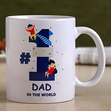No. 1 Dad White Ceramic Mug- Hand Delivery:Personalised Mugs for Fathers Day