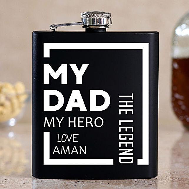 Personalised My Dad My Hero Black Hip Flask