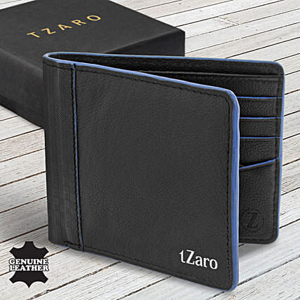 Fathers Day Tzaro Leather Black Blue Wallet:Fashion Accessories