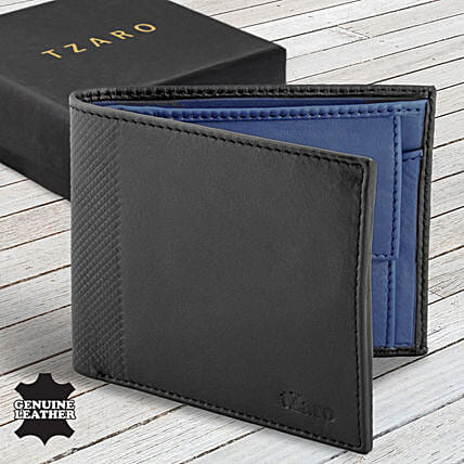 Fathers Day Tzaro Leather Black Navy Blue Wallet