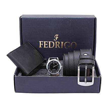 Fathers Day Wallet And Watch With Belt Black