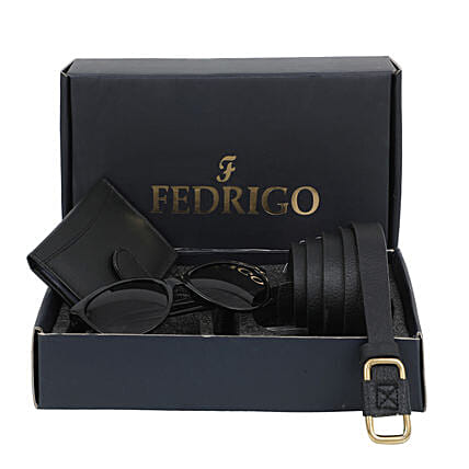Womens Belt And Card Wallet With Sunglasses Black:Fashion Accessories