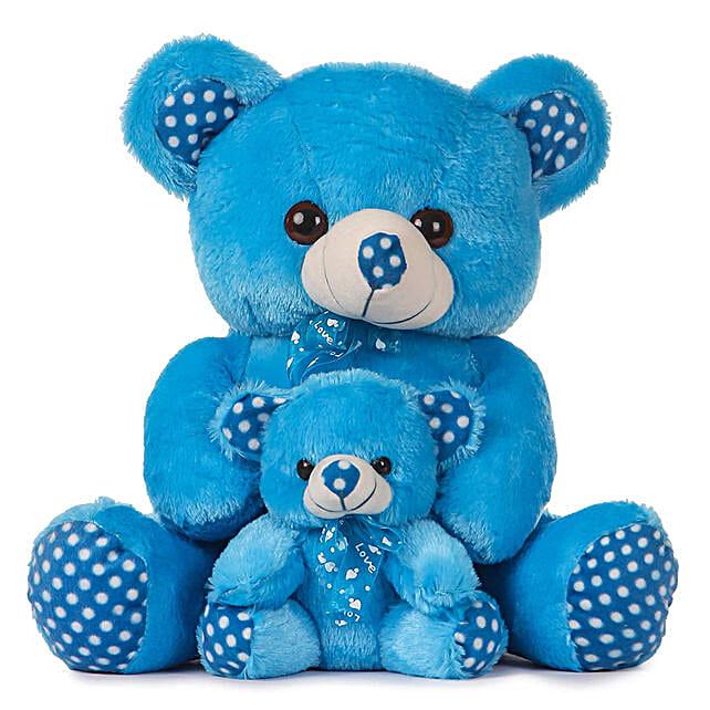 Cute Blue Mother Baby Teddy Bear