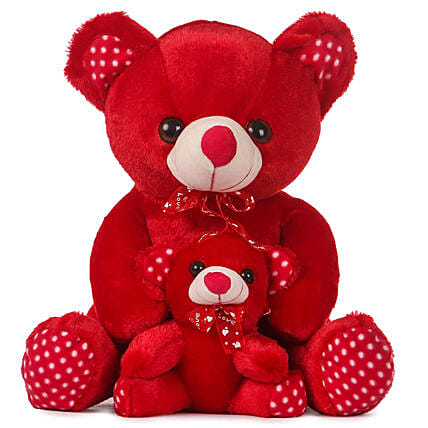Cute Red Mother Baby Teddy Bear