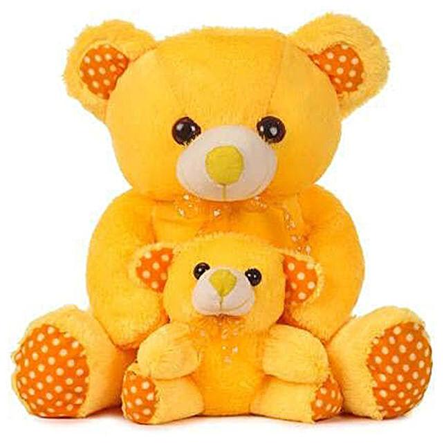 Cute Yellow Mother Baby Teddy Bear