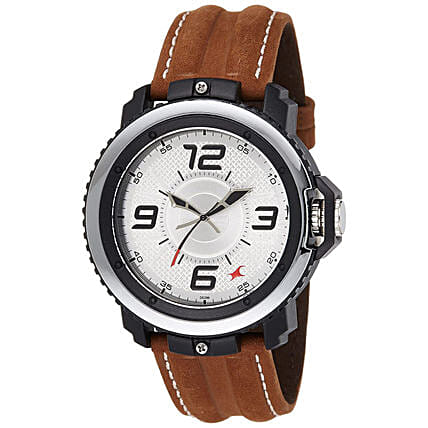 Fastrack Analog Brown Strap Silver Dial Mens Watch:Buy Watches