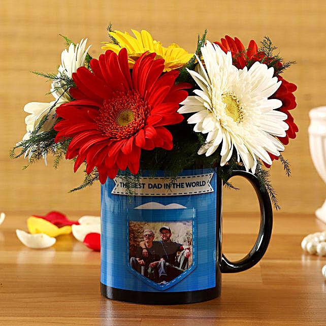Mixed Gerberas In Best Dad Personalised Mug