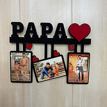 Personalised Papa 3 Pictures Photo Frame