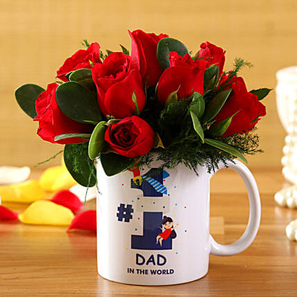 Red Roses In No 1 Dad In The World Mug:Father's Day Flower Bouquet
