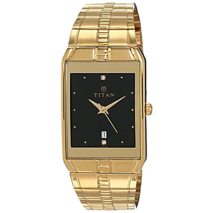 Titan Analog Black And Golden Dial Mens Watch