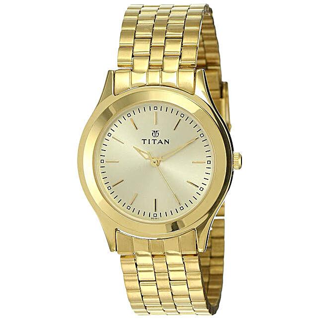 Titan Analog Golden Dial Mens Watch