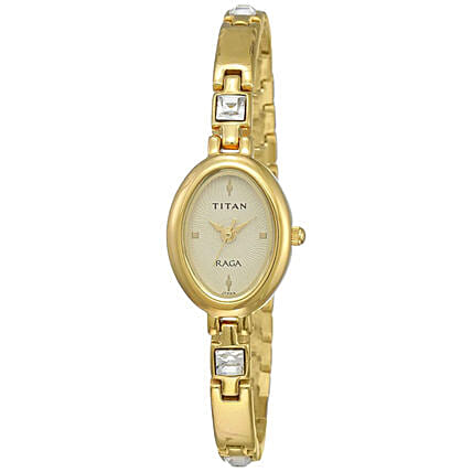 Titan Raga Analog Golden Dial Womens Watch:Accessories for Her