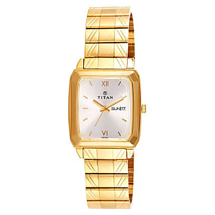 Titan Silver Dial And Golden Strap Mens Watch