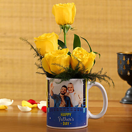 Yellow Roses In Happy Fathers Day Personalised Mug