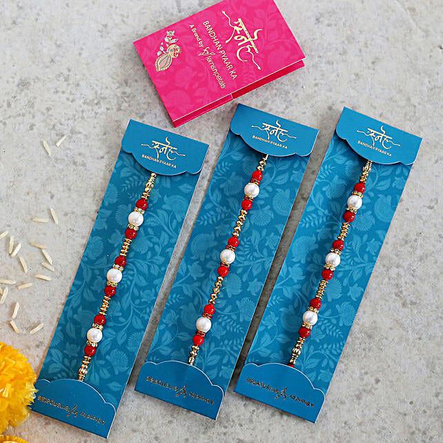 Set Of 3 Stunning Pearl & Beads Rakhis