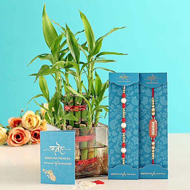 Capsule & Pearl Rakhi With Bamboo Plant