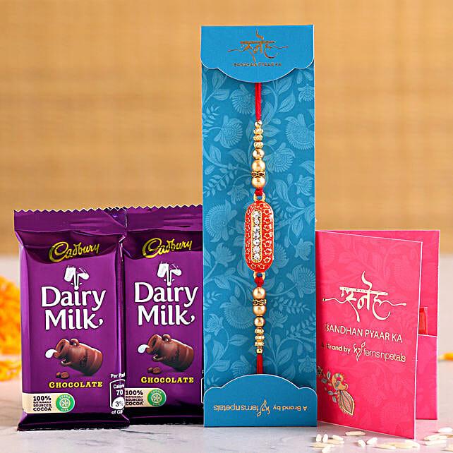 Capsule Rakhi With Two Dairy Milk Chocolates