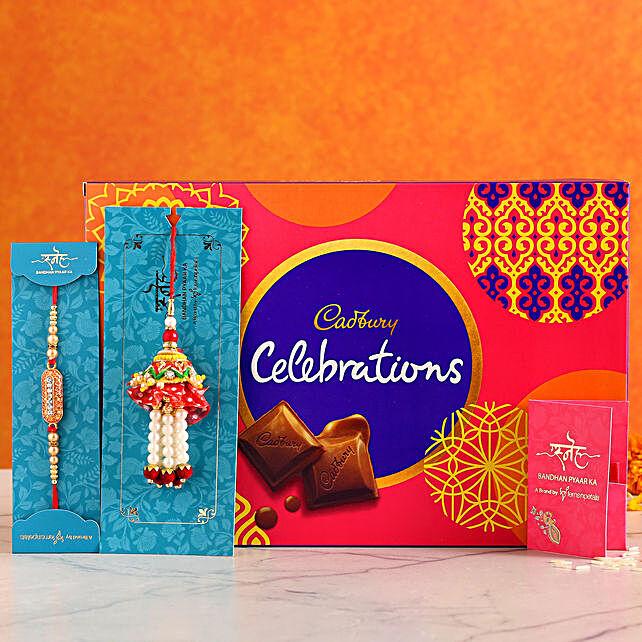 Designer Lumba Rakhi Set With Celebrations Box Combo