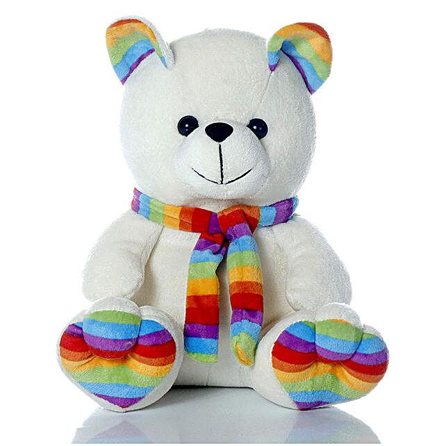 Cute & Cuddly White Muffler Teddy Bear