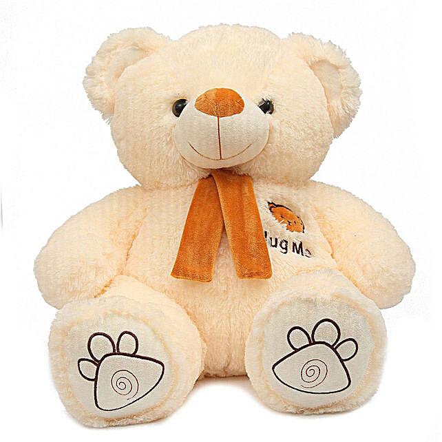 Hug Me Munchy Cream Teddy Bear With Bow