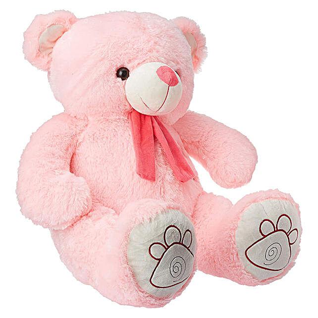 Hug Me Munchy Pink Teddy Bear With Bow
