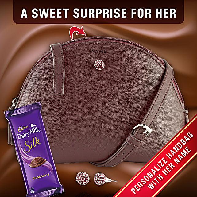 Personalised Sling Bag With Earrings Chocolate:Personalised Gifts N Chocolates