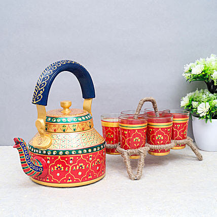 Kettle And 6 Tea Glass Set With Stand Orange And Golden:Send Home Decor Gifts