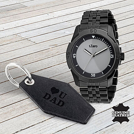 Stainless Steel Watch Keychain Fathers Day Combo