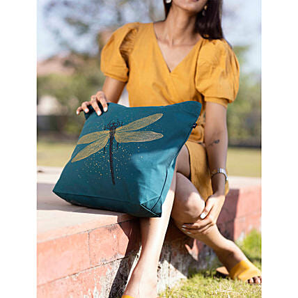 EcoRight Canvas Dragonfly Green Tote Bag:Women's Accessories