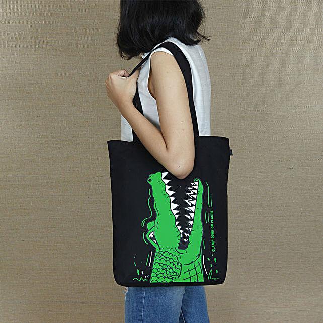 EcoRight Cotton Crocodile Print Tote Bag:Accessories for Her