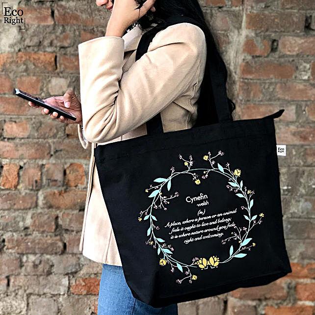EcoRight Cotton Cynefin Black Tote Bag